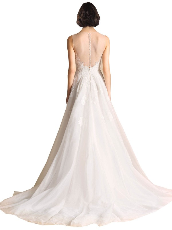 A-Line Illusion Chapel Train Long Ivory Organza Vera Wedding Dress for Sale