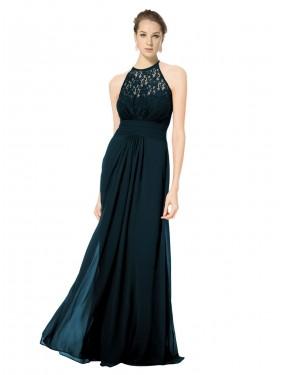 A-Line Illusion Halter Floor Length Long Dark Navy Chiffon & Lace Sadie Bridesmaid Dress for Sale