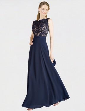 A-Line Illusion Neckline Floor Length Long Dark Navy Chiffon & Lace Romina Bridesmaid Dress for Sale