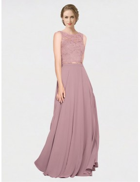 A-Line Illusion Neckline Floor Length Long Pink Chiffon & Lace Rivka Bridesmaid Dress for Sale