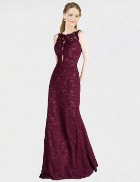 A-Line Illusion Neckline High Neck Floor Length Long Burgundy Lace Ari Bridesmaid Dress for Sale