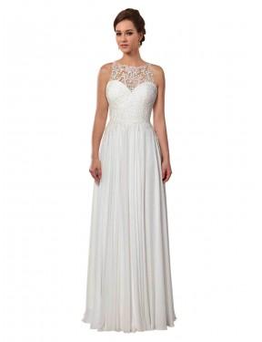 A-Line Illusion Sweep Train Long Ivory Chiffon Brooklynn Wedding Dress for Sale