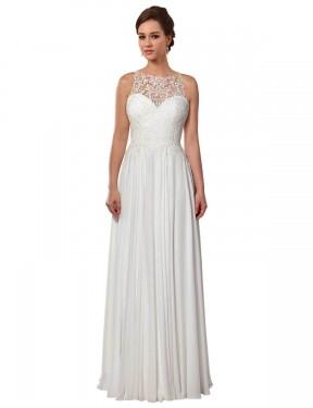 A-Line Illusion Sweep Train Long Ivory Chiffon Brooklynn Wedding Dress