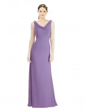 A-Line Jewel Floor Length Long Dahlia Chiffon Azariah Bridesmaid Dress for Sale