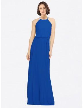 A-Line Jewel Floor Length Long Royal Blue Chiffon Ariel Bridesmaid Dress for Sale