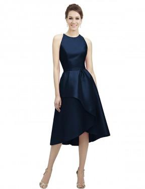 A-Line Jewel Halter High Low Tea Length Short Dark Navy Satin Wren Bridesmaid Dress for Sale