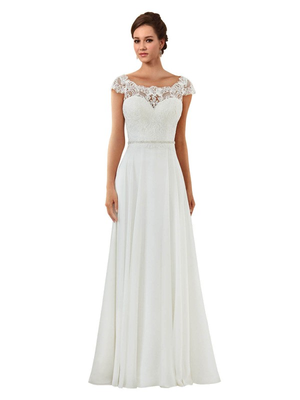 A-Line Off the Shoulder Chapel Train Long Ivory Chiffon Angela Wedding Dress for Sale