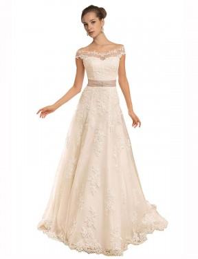 A-Line Off the Shoulder Chapel Train Long Ivory Lace Brynn Wedding Dress