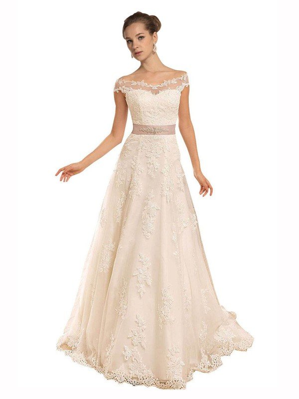 A-Line Off the Shoulder Chapel Train Long Ivory Lace Brynn Wedding Dress for Sale