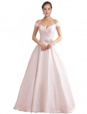 A-Line Off the Shoulder Chapel Train Long Ivory Satin Thea Wedding Dress