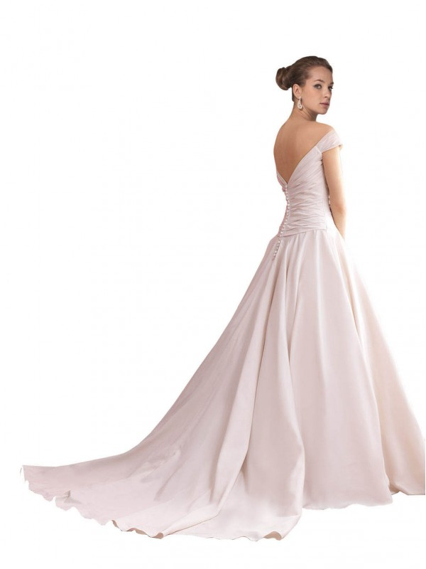 A-Line Off the Shoulder Chapel Train Long Ivory Satin Thea Wedding Dress for Sale