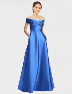 A-Line Off the Shoulder Floor Length Long Blue Satin Elyssa Bridesmaid Dress for Sale