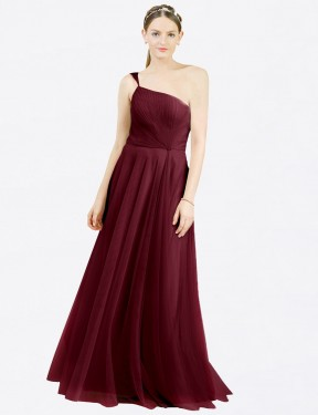 A-Line Off the Shoulder Floor Length Long Burgundy Tulle Zoey Bridesmaid Dress for Sale