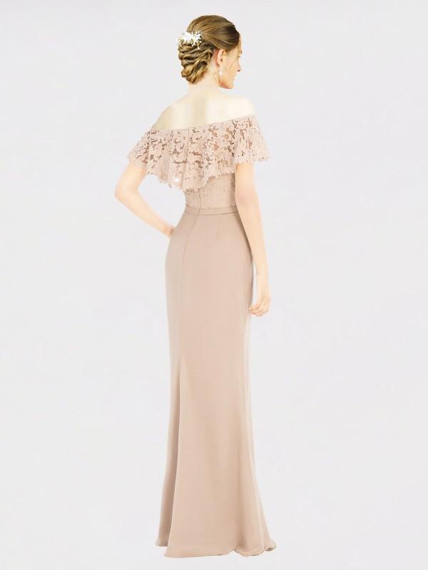 A-Line Off the Shoulder Floor Length Long Champagne Chiffon & Lace Perla Bridesmaid Dress for Sale