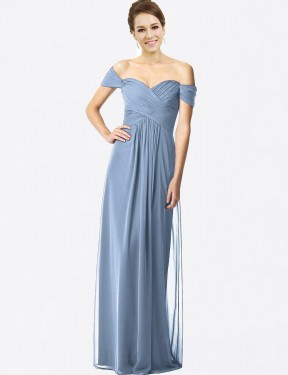 A-Line Off the Shoulder Floor Length Long Dusty Blue Chiffon Kamryn Bridesmaid Dress for Sale