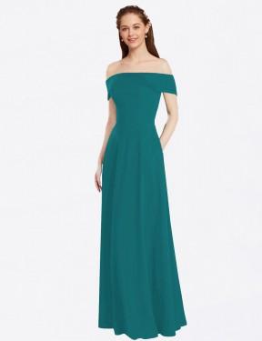 A-Line Off the Shoulder Floor Length Long Hunter Chiffon Lina Bridesmaid Dress for Sale