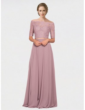 A-Line Off the Shoulder Floor Length Long Pink Chiffon & Lace Louise Bridesmaid Dress for Sale
