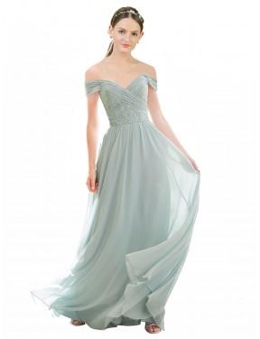 A-Line Off the Shoulder Floor Length Long Sea Glass Chiffon & Lace Ellis Bridesmaid Dress for Sale