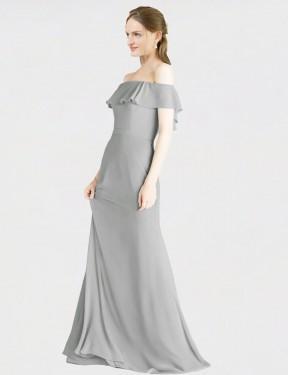 A-Line Off the Shoulder Floor Length Long Silver Chiffon Angelique Bridesmaid Dress for Sale