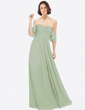 A-Line Off the Shoulder Floor Length Long Smoke Green Chiffon Katherine Bridesmaid Dress for Sale