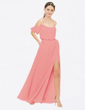 A-Line Off the Shoulder Floor Length Long Watermelon Chiffon Kris Bridesmaid Dress for Sale