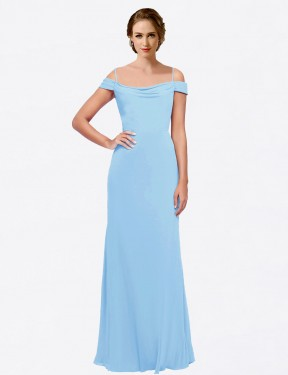 A-Line Off the Shoulder Spaghetti Straps Bateau Floor Length Long Periwinkle Chiffon Nataly Bridesmaid Dress for Sale