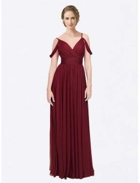 A-Line Off the Shoulder Spaghetti Straps Floor Length Long Burgundy Chiffon Aliya Bridesmaid Dress for Sale
