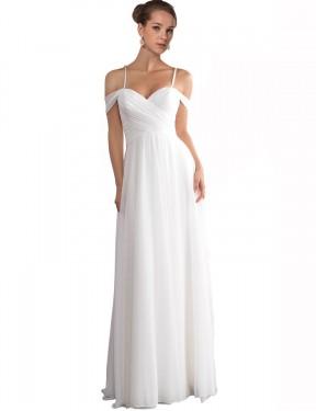 A-Line Off the Shoulder Sweep Train Long Ivory Chiffon Ruth Wedding Dress