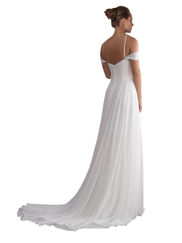 A-Line Off the Shoulder Sweep Train Long Ivory Chiffon Ruth Wedding Dress for Sale