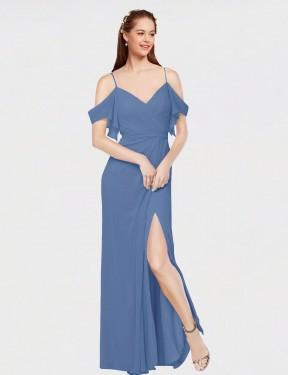 A-Line Off the Shoulder Sweetheart Cold Shoulder Floor Length Long Windsor Blue Chiffon Augusta Bridesmaid Dress for Sale