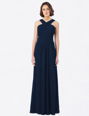 A-Line Off The Shoulder Sweetheart Floor Length Long Dark Navy Chiffon Claire Bridesmaid Dress for Sale