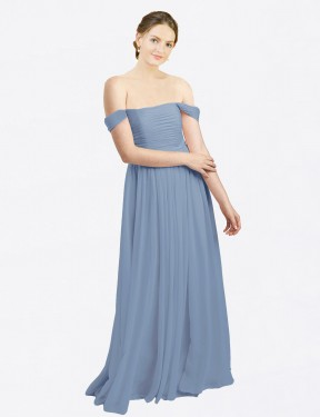 A-Line Off the Shoulder Sweetheart Floor Length Long Dusty Blue Chiffon Aria Bridesmaid Dress for Sale