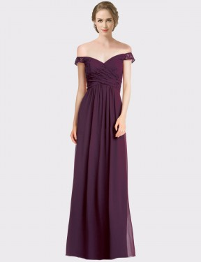A-Line Off the Shoulder Sweetheart Floor Length Long Grape Chiffon & Lace Cara Bridesmaid Dress for Sale