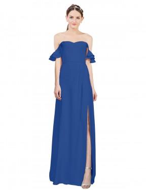 A-Line Off the Shoulder Sweetheart Floor Length Long Royal Blue Stretch Crepe Leanne Bridesmaid Dress for Sale