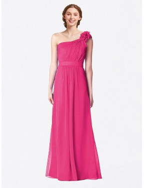 A-Line One Shoulder Floor Length Long Azalea Chiffon Gracelyn Bridesmaid Dress for Sale