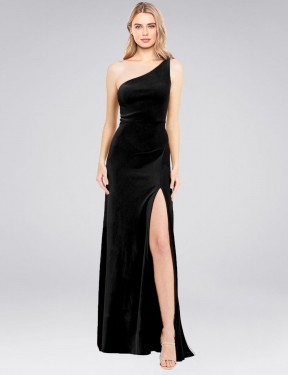 A-Line One Shoulder Floor Length Long Black Stretch Velvet Daniel Bridesmaid Dress for Sale