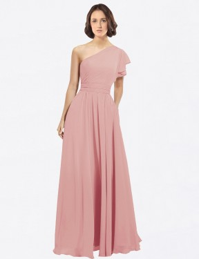 A-Line One Shoulder Floor Length Long Bliss Chiffon Josephine Bridesmaid Dress for Sale