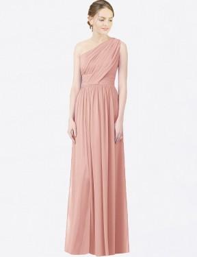 A-Line One Shoulder Floor Length Long Bliss Chiffon Lana Bridesmaid Dress for Sale