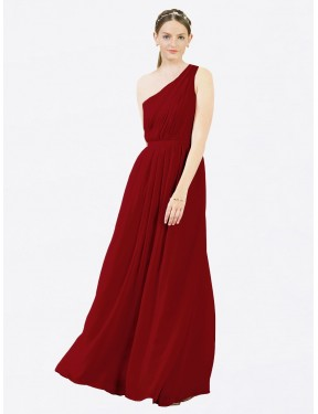 A-Line One Shoulder Floor Length Long Burgundy Chiffon Olivia Bridesmaid Dress for Sale