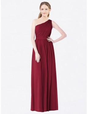 A-Line One Shoulder Floor Length Long Burgundy Chiffon Rylie Bridesmaid Dress for Sale
