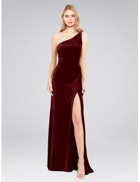 A-Line One Shoulder Floor Length Long Burgundy Stretch Velvet Daniel Bridesmaid Dress for Sale