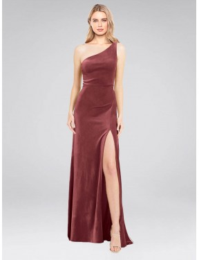 A-Line One Shoulder Floor Length Long Cinnamon Rose Stretch Velvet Daniel Bridesmaid Dress for Sale