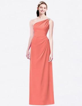 A-Line One Shoulder Floor Length Long Coral Chiffon Danielle Bridesmaid Dress for Sale