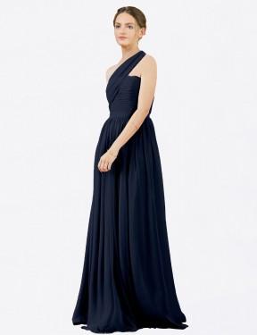 A-Line One Shoulder Floor Length Long Dark Navy Chiffon Chloe Bridesmaid Dress for Sale