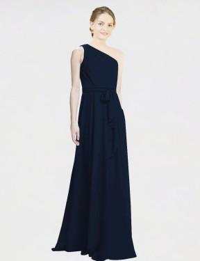 A-Line One Shoulder Floor Length Long Dark Navy Chiffon Kenna Bridesmaid Dress for Sale