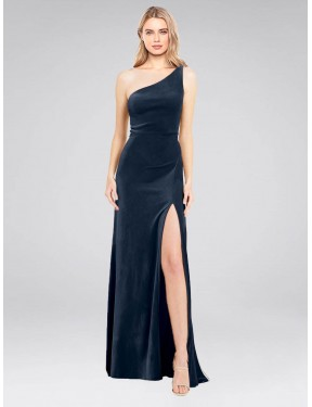 A-Line One Shoulder Floor Length Long Dark Navy Stretch Velvet Daniel Bridesmaid Dress for Sale