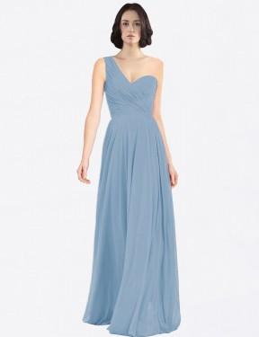 A-Line One Shoulder Floor Length Long Dusty Blue Chiffon Milana Bridesmaid Dress for Sale