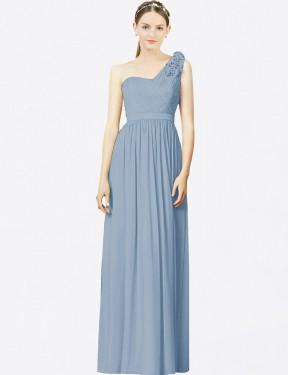A-Line One Shoulder Floor Length Long Dusty Blue Chiffon Ophelia Bridesmaid Dress for Sale