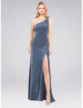 A-Line One Shoulder Floor Length Long Dusty Blue Stretch Velvet Daniel Bridesmaid Dress for Sale