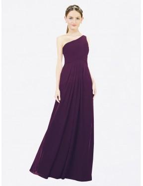 A-Line One Shoulder Floor Length Long Grape Chiffon Clementine Bridesmaid Dress for Sale